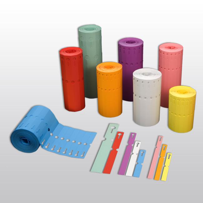 Schlaufenetiketten aus PVC, 200 x 13 mm, matt, 1.000 Etiketten je Rolle