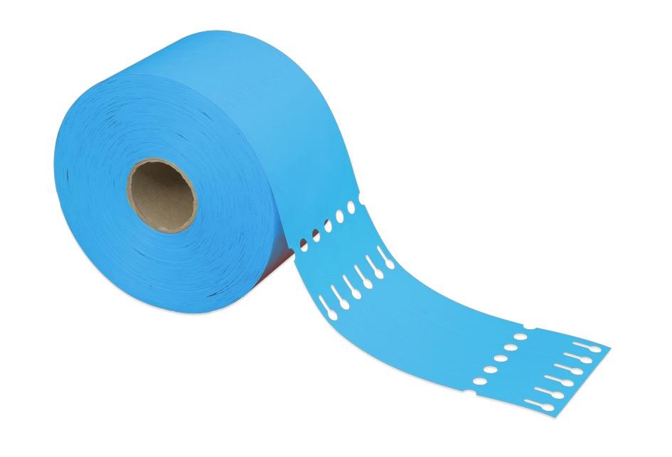 Schlaufenetiketten aus HDPE 200μ, 25 x 250 mm, 50 mm Kern, 1.500 Etiketten je Rolle