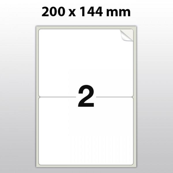 Klebeetiketten aus PET Folie, A4, 200 x 144 mm, weiß matt, 100 Blatt pro Packung