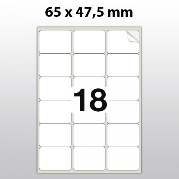 Klebeetiketten aus PET Folie, A4, 65 x 47,5 mm, weiß matt, 100 Blatt pro Packung