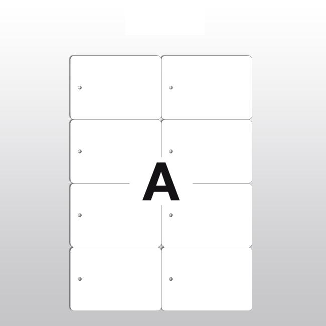 Hängeetiketten aus PET Folie, 105 x 74,25 mm, 150 my, weiß, 100 Blatt pro Packung
