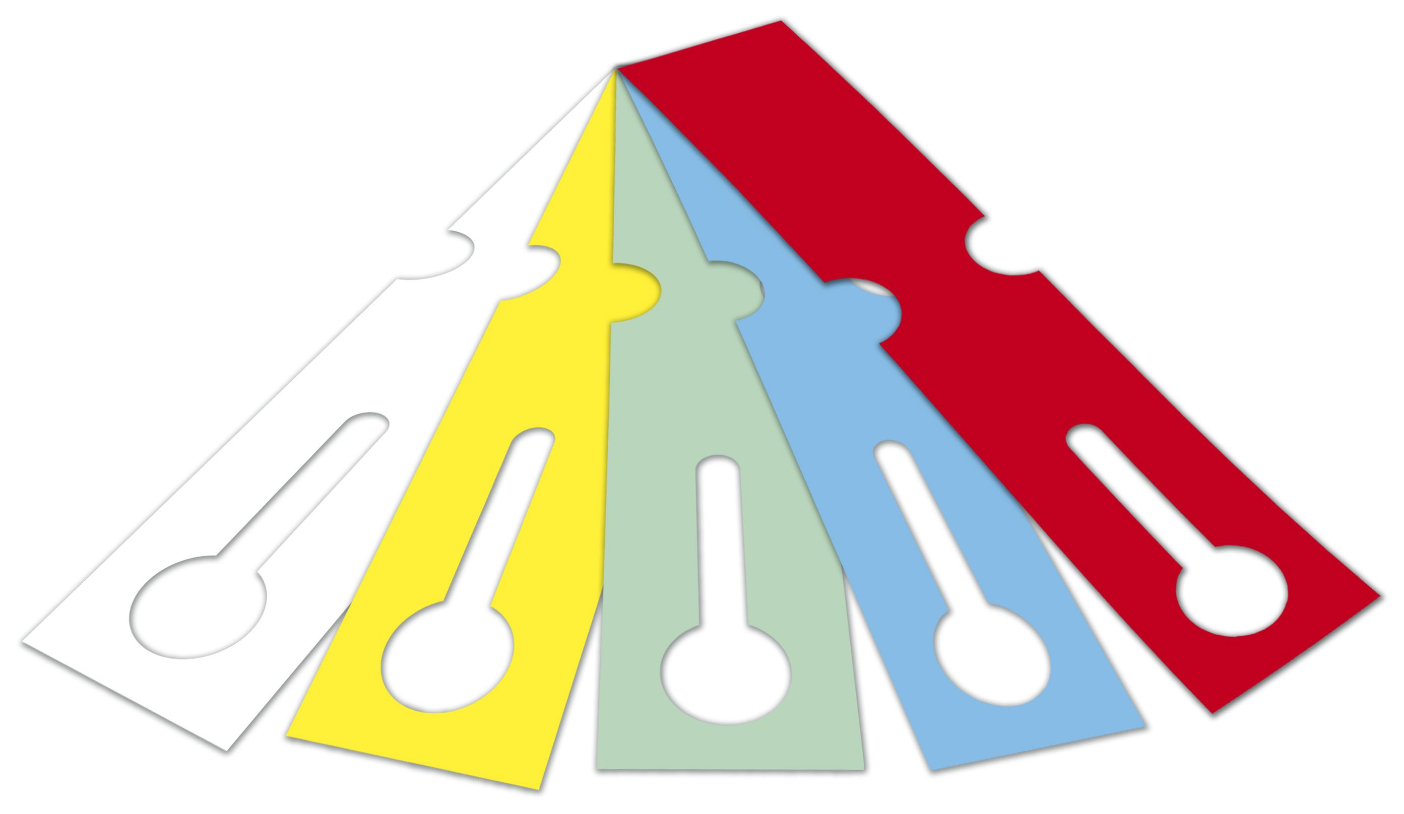 Schlaufenetiketten aus HDPE 150 µ,  59,00 mm x 273,50 mm, ohne Kleber, 76 mm Kern, 500 Etiketten je Rolle, gestanzt, lebensmittelecht