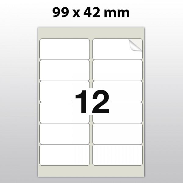 Klebeetiketten aus PET Folie, A4, 99 x 42 mm, weiß matt, 100 Blatt pro Packung