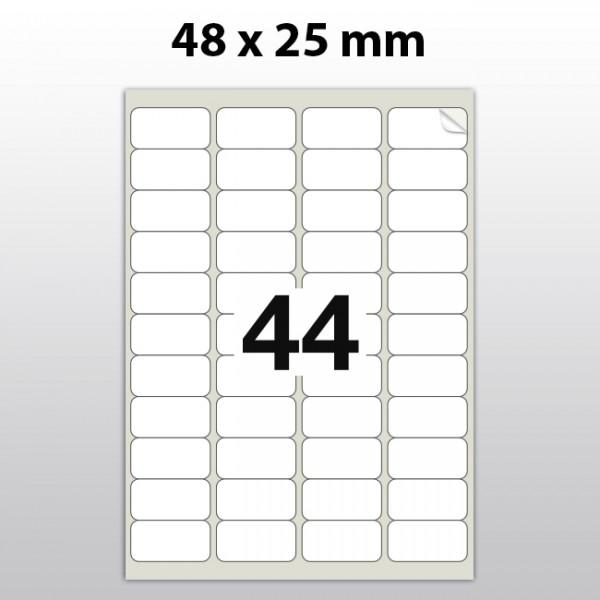 Klebeetiketten aus PET Folie, A4, 48 x 25 mm, weiß matt, 100 Blatt pro Packung