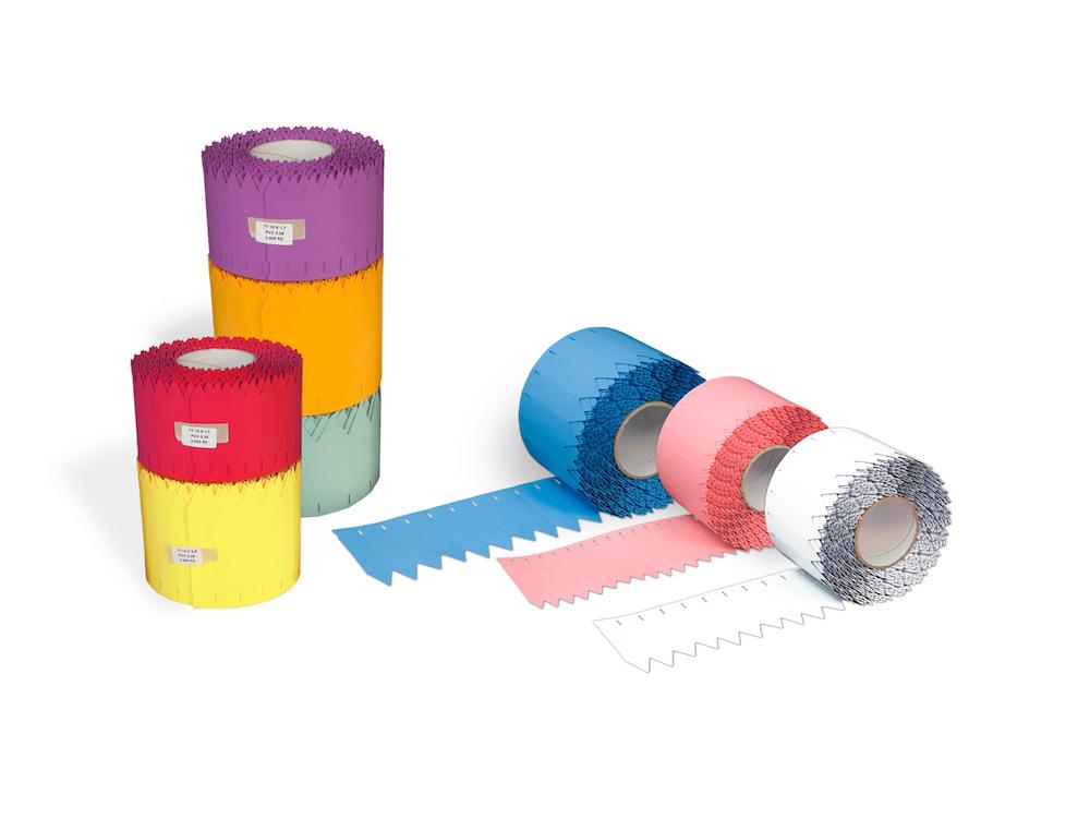 Stecketiketten aus PVC Folie 350µ, 17 x 100 mm, 76 mm Kern, 3000 Etiketten je Rolle